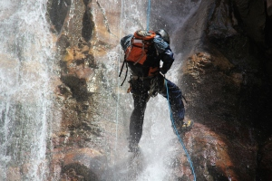 Canyoneering is one of my favorite things to do. Here I am rapelling down Cascade Creek in Ouray, CO.